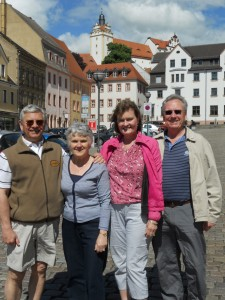 (In Colditz town. L to R: W.Bro Bill Beedie, Dorothy Beedie, Hilary Robson & W.Bro Tom Robson)