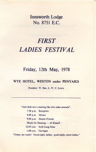 PROGRAMME OF THE VERY FIRST LADIES FESTIVAL FOR INNSWORTH LODGE – MAY 1978